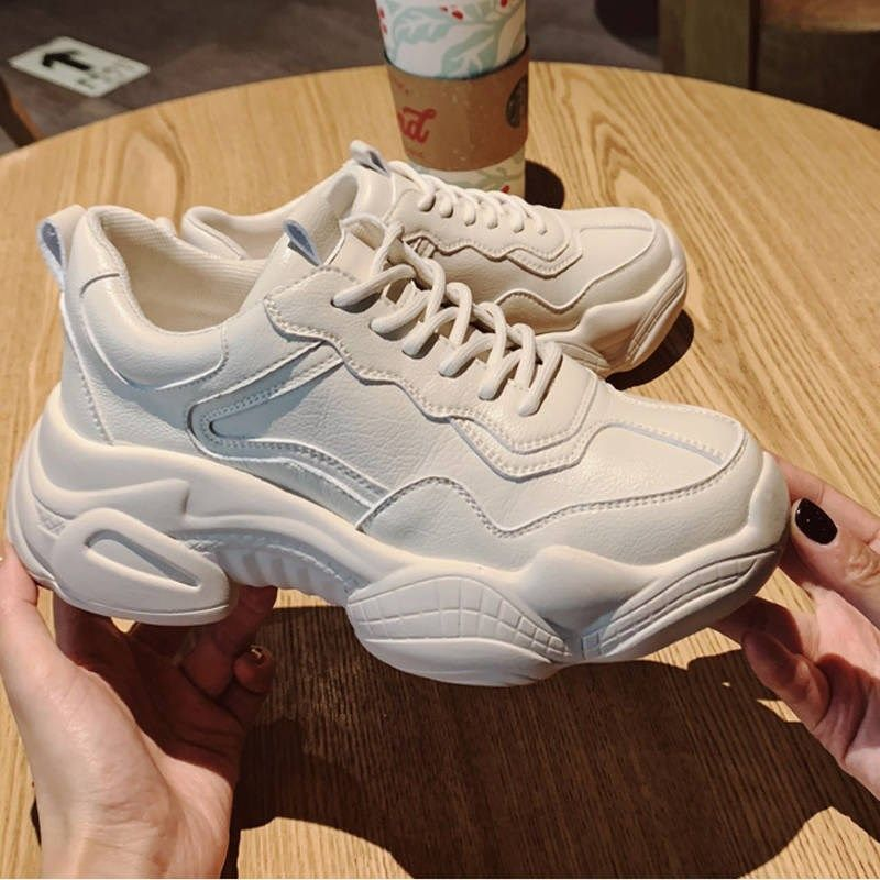 New Pant Shoes Comfy Breathable Mesh Trainers Chunky Heels 5cm Women's Platform Sneakers Women Running Shoes Casual Female Shoes