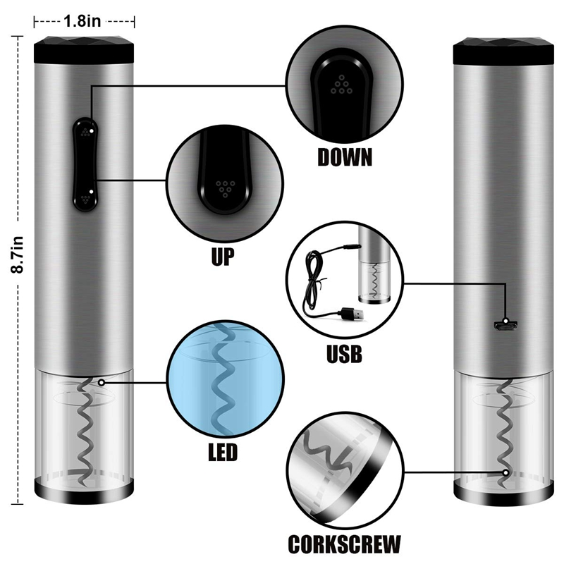 Electric Wine Opener Set Rechargeable Wine Bottle Opener Set Cordless Automatic Corkscrew Opener With Wine Foil Cutter Wine Aera