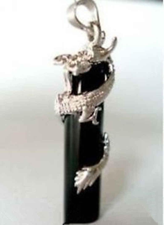 Frete grátis>>>>> impressionante pedra preta dragão jóias pingente/colar