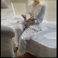 Women's Lolita Pajama Sets Lace Embroidered Flowers Tops Long Pants Solid Vintage Ladies Sleepwear Loungewear