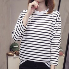 Women V Collar Summer Stripe Print Tshirt Korean Fashion Loose Tops Casual Long Sleeve T-Shirt Clothes 2019 New