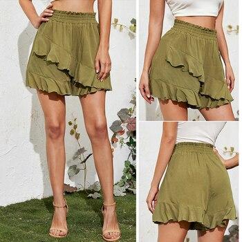 Summer Elastic High Waist Lotus Leaf Shorts Women Casual Short Pants Green