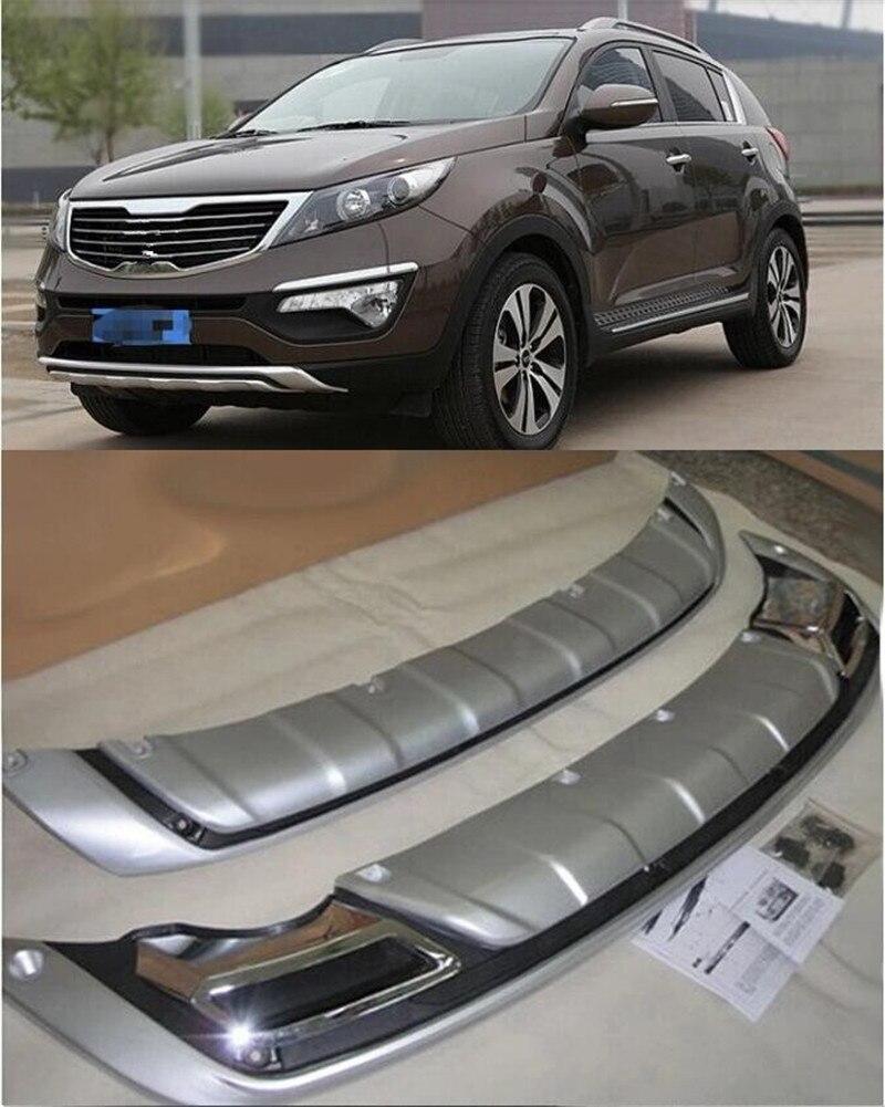 รถยนต์สำหรับ Kia Sportage R 2010-2016 2pcs ABS Chrome ด้านหน้า + ด้านหลังกันชน GUARD Protector ลื่นไถลแผ่น
