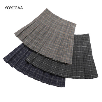Women Woolen Pleated Skirts Autumn Winter High Waist Female Plaid Skirt Harajuku Mini Ladies Short Casual
