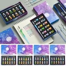 2020 New Crystal Glass Pen Starry Sky Dip Pen Glitter Powder Fountain Pen 12 Colors Ink Gift Box Set Writing Supplies
