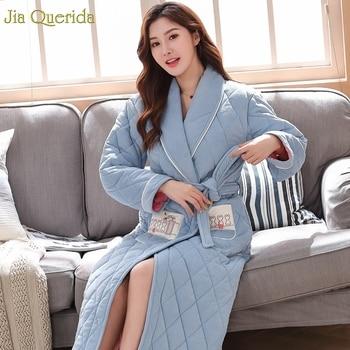 Night Robe Women Winter Bath Robe Long Extra Thick 3 Layer Padded Embossing Pattern Lingerie Robe Sky Blue Velvet Fleece Kimono