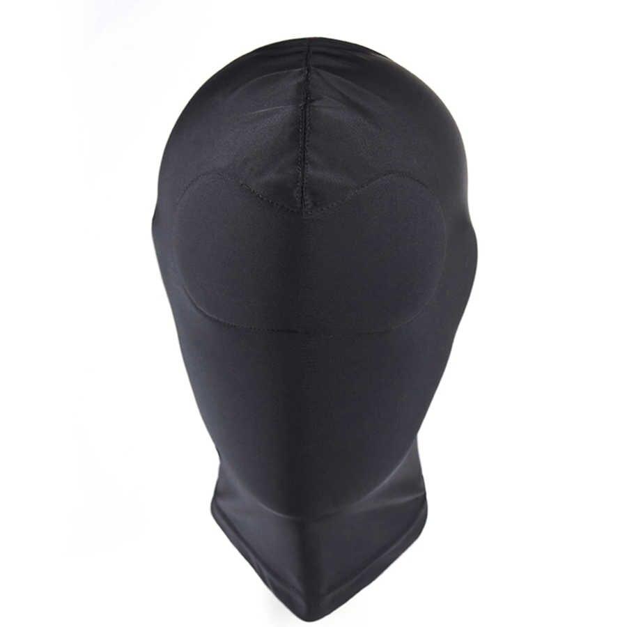 Садо черный капюшон с мягким маска для глаз эротические закрыть рот глаз наказание раба головные уборы секс-игрушки для пар