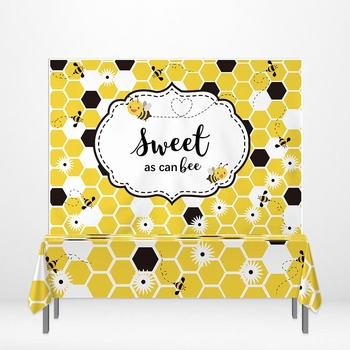 Allenjoy yellow beehive Step And Repeat backdrop bee Baby Shower banner Background TableCloth DIY Children Party decoration