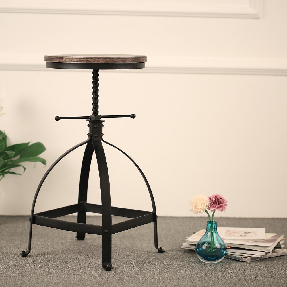 IKayaa Bar Stool Industrial Style Adjustable Height Swivel Kitchen Dining Breakfast Chair Natural Pinewood Top Bar Stools
