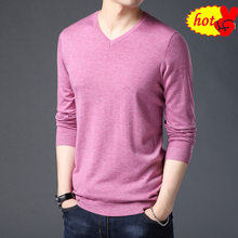 Pure Men Sweater Color Casual V-Neck Pullover Men Clothes Autumn Winter Soft Warm Cashmere Wool Sweaters Pull Homme(China)