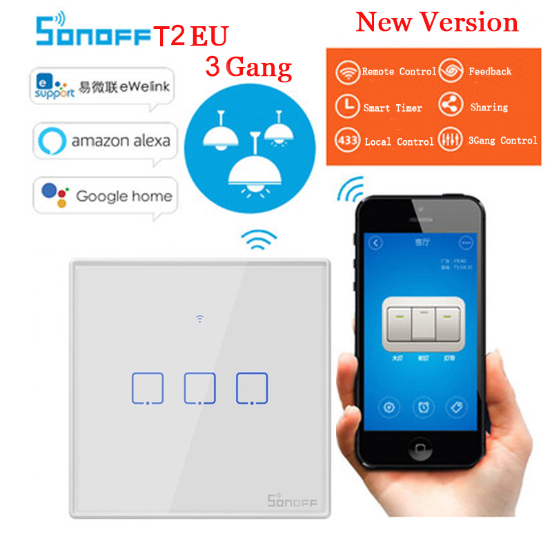 Sonoff TX T2 EU 3gang Wifi Smart Switch Wireless Smart Home Remote Control 433 RF Touch Wall Light Switch Work with Alexa Google wall swivel surge protector with 6 ac outlets and 2 usb ports