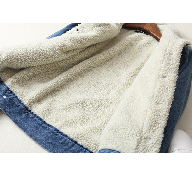 Spring Autumn Winter New 2019 Women lambswool jean Coat With 4 Pockets Long Sleeves Warm Jeans Coat Outwear Wide Denim Jacket - 4