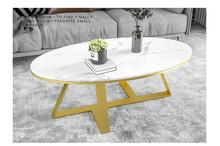 Simple Nordic marble coffee table modern light luxury net red personality creative small apartment living room oval tea table