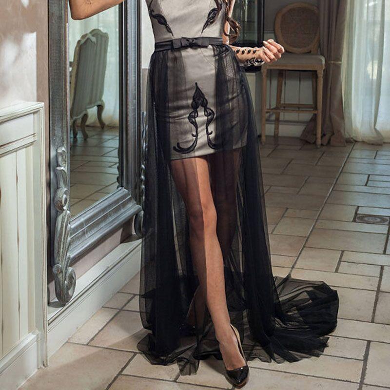 Graceful One Layer Black Custom Made Long Petticoat Soft Mesh Tutu Skirt Detachable Overskirt