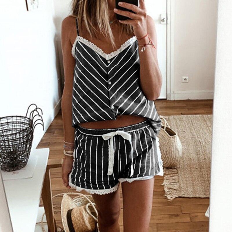 HEFLASHOR Womens Stripe Short Pajamas Set Sleeveless Camisole Shorts Set Plus Size Summer Nightwear Sleepwear