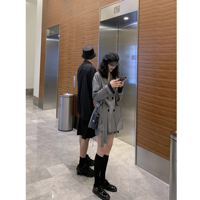 2019 Early Autumn New Style Bandage Cloth Laziness-Style Suit Jacket Shorts Two-Piece Women's Tennis Hong Yang Gas WOMEN'S Suit