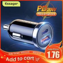 Essager USB Auto Ladegerät USB Typ C Quick Charge QC 3,0 QC 3,0 Für iPhone 12 Pro Max Xiaomi Schnelle lade Ladegerät Für Handy im Auto