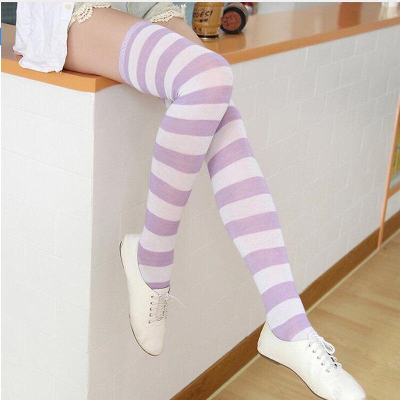 Moda çorap kadınlar kızlar için noel cadılar bayramı diz çorap sevimli kadın çizgili çorap kadın pamuk uyluk yüksek çorap