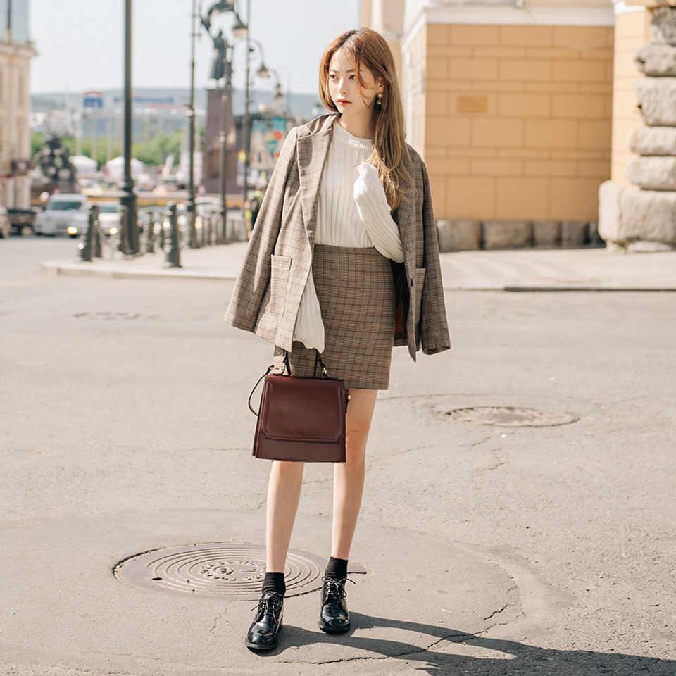 S-XL koreański OL panie spódnica do pracy zestaw ścięty Plaid długi żakiet z dzianiny dresowej + krótka spódnica ołówkowa 2020 wiosna Vintage damski marynarka garnitur