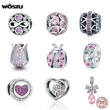 WOSTU auténtico 100% de Plata de Ley 925 de cristal de circón Rosa perlas encanto Fit Original pulsera colgante de joyería de plata 925