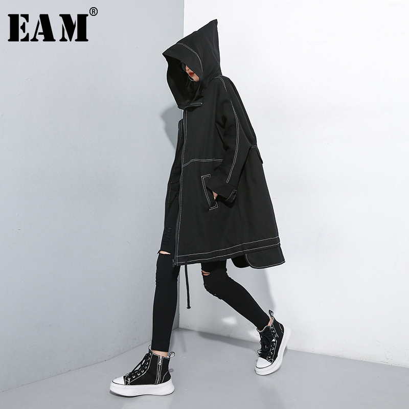 [EAM] Women Drawstring Oversize Trench New Hooded Long Sleeve Loose Fit Windbreaker Fashion Tide Spring Autumn 2020 1A826