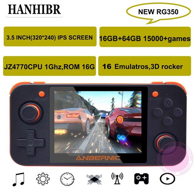 새로운 ANBERNIC RG350 IPS 레트로 게임 RG350 비디오 게임 업그레이드 게임 콘솔 ps1 게임 64 비트 omendinux 3.5 인치 15000 + 게임 rg350