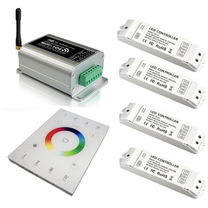 Новый светодиодный Wi-Fi контроллер и M12 ИК-пульт дистанционного управления 2,4 ГГц Wi-Fi rgb контроллер полос с приемником UX8 Сенсорная панель 4 зон...