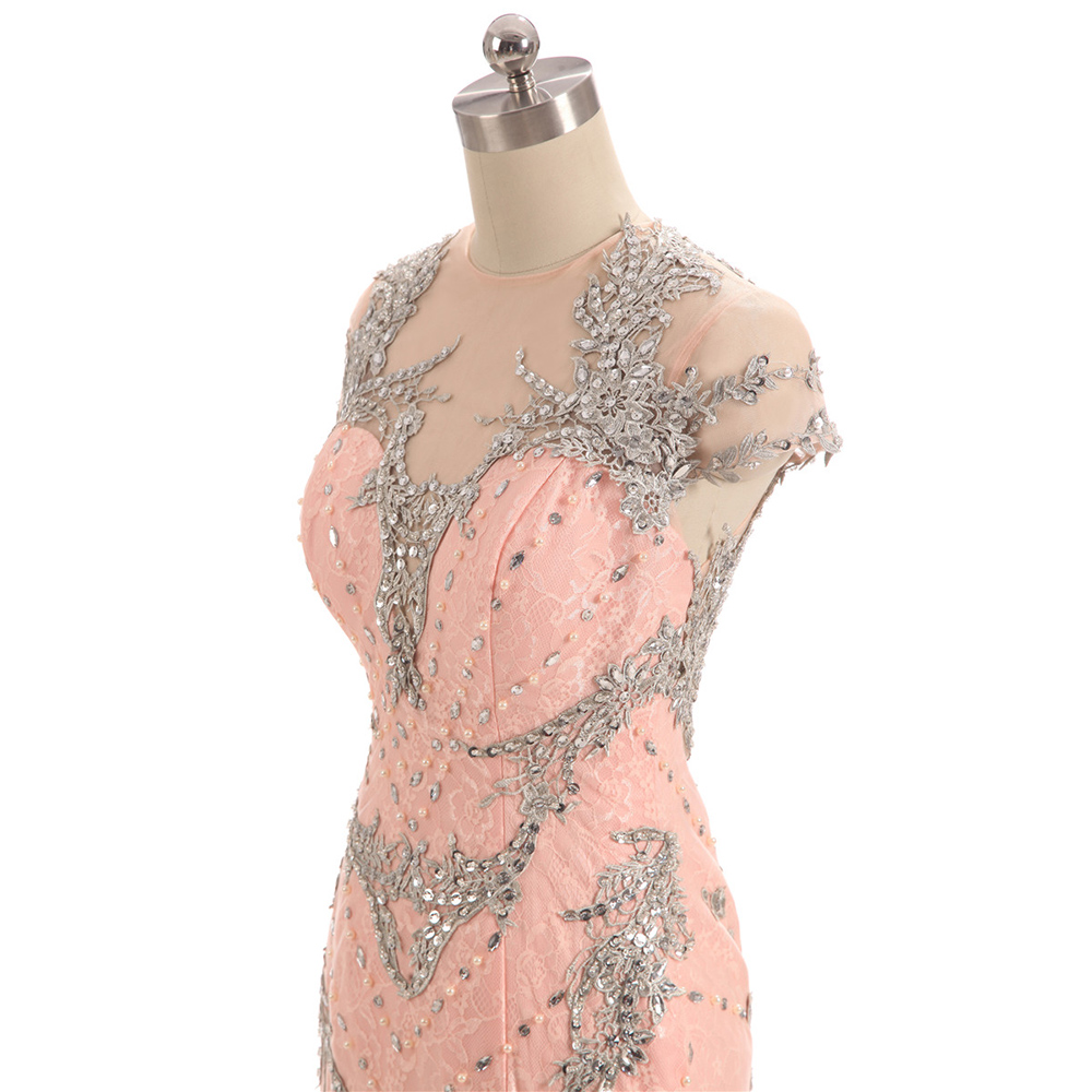Pink Lace Evening Dresses short Sleeve Long  Formal Evening Dress Beads Appliques Trumpet Prom Gown sukienki wizytowe
