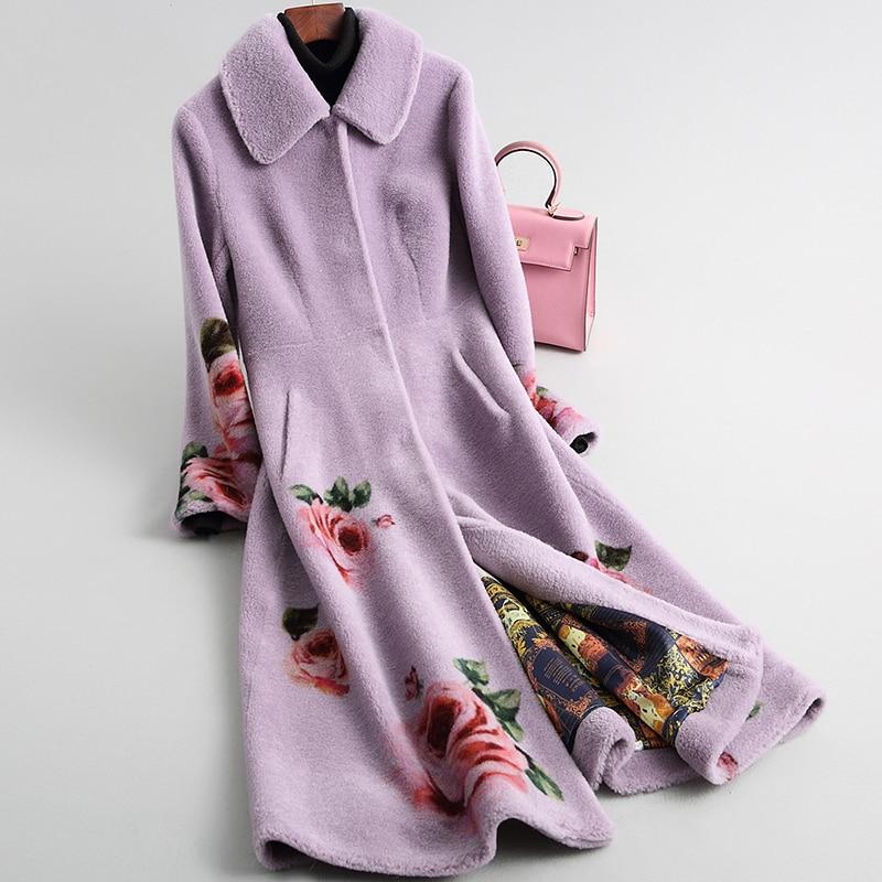 Shearling Sheep Real Fur Coat Winter Jacket Women 100% Wool Coat Female Print Korean Long Jackets Manteau Femme MY4211 S