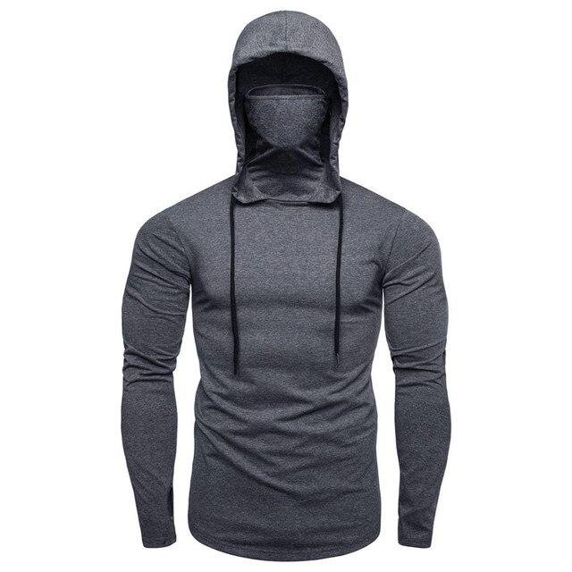 Mens Gym Thin Hoodie Long Sleeve Hoodies With Mask Sweatshirt Casual Splice Large Open-Forked Mask Hoodie Sweatshirt Hooded Tops 6
