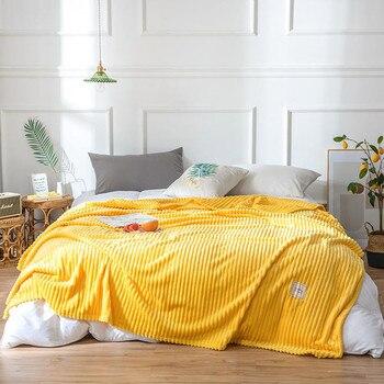 Pink Yellow Striped Flannel Fleece Blanket Adult Soft Bedspread Bed Cover Plaids Sofa Throw Blanket Decoration mantas de cama