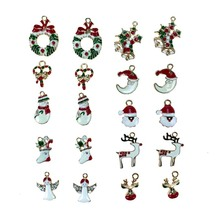Metal Alloy Christmas Mini Pendants Charm For Holiday Decoration DIY Gift 5pcs Random Mixed