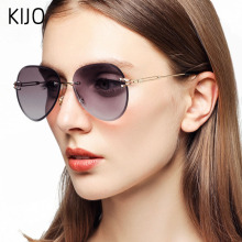 KIJO Rimless Sunglasses Women Brand Designer Sun Glasses Gra