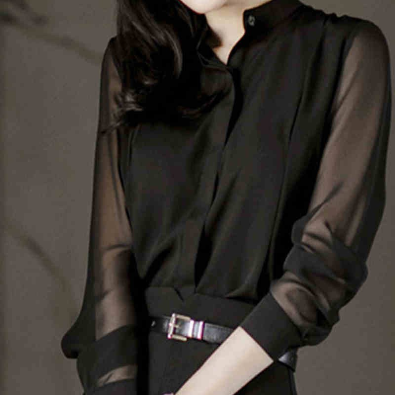 Blouse Women Summer Black Perspective Chiffon Shirt Office Lady Sexy Stand Collar Long Sleeve Ladies Blouses