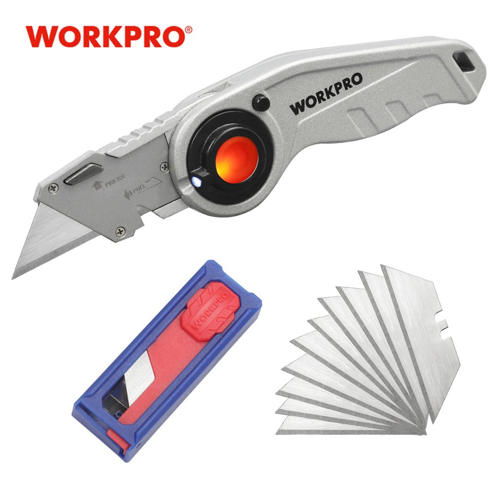 WORKPRO Heavy Duty Folding Utility Knife With Wire Stripper Quick-Change Mechanism Safety Lock And LED Light
