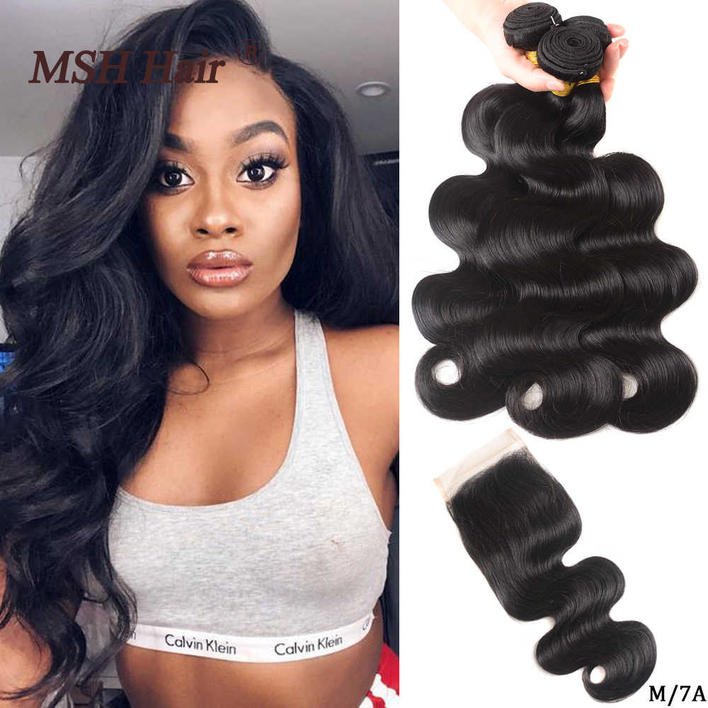MSH Hair Brazilian Body Wave Human Hair Weave Bundles With 4*4 Lace Closure 130% Density Non-Remy Medium Ratio