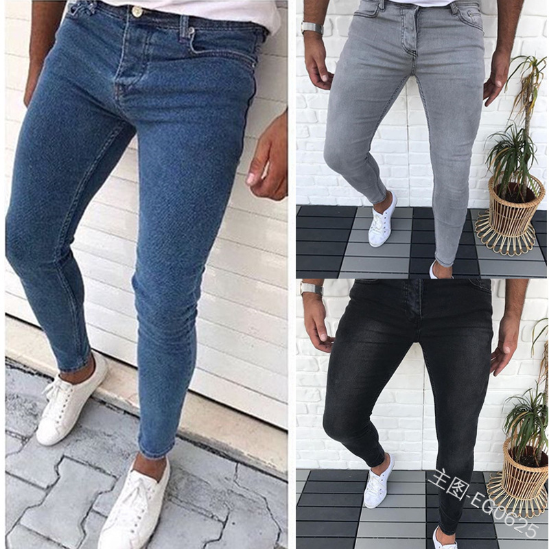 Man Solid Color Leisure Skinny Jeans Bound Feet Pants Slim Fit Denim Pant Casual Men Slim Fashion Catchy Elasticity Jogger