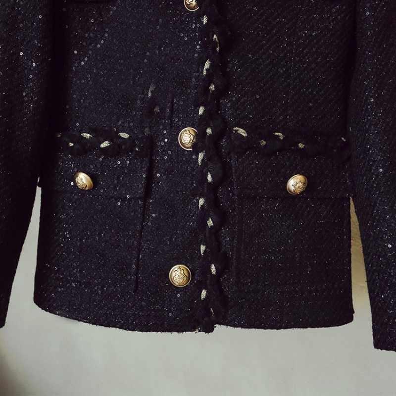 Primavera outono nova v-neck único breasted manga longa jaquetas cintura alta magro ajuste a linha saias qualidades senhoras tweed 2 peças conjunto