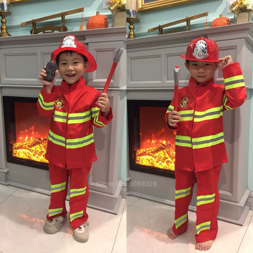 Fireman Sam Kids Halloween Christmas Cosplay Costumes For Girls Boy Carnival Party Fancy Suit Kids Firefighter Uniform Game Wear