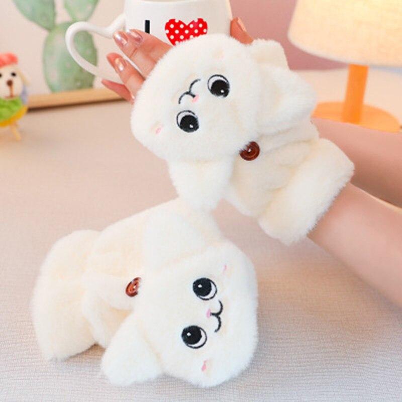 Women Flip Half Finger Driving Gloves Winter Soft Rabbit Fur Knitte Mittens Warm Plush Thick Cute Cat Touch Screen Gloves E65
