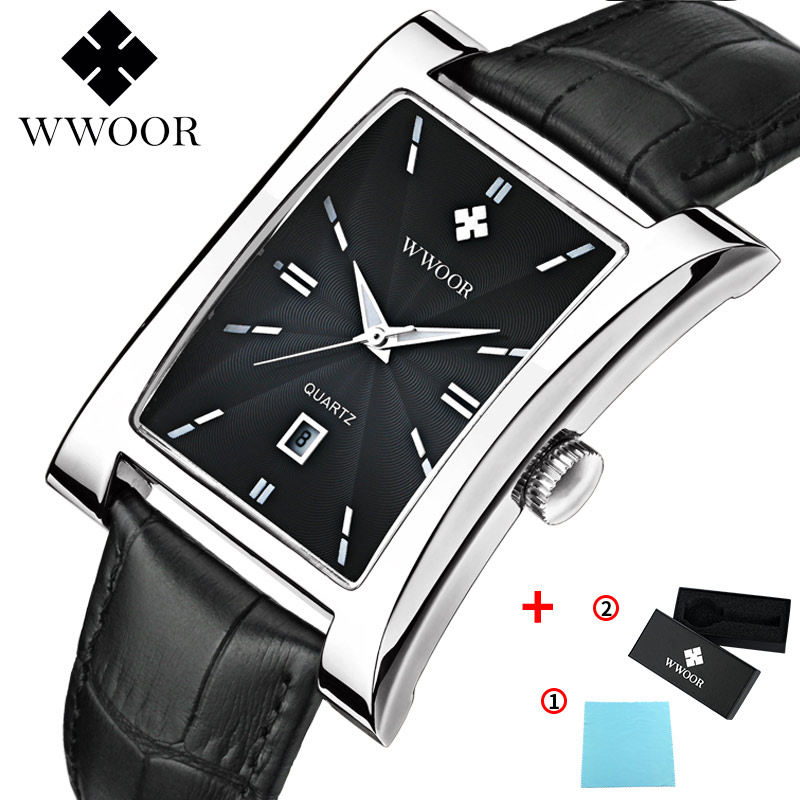 reloj hombre Square Watch Men WWOOR Top Brand Luxury Black Leather Quarzt Men Watch Box Sport Waterproof Clock Relogio Masculino