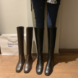 2020 New Winter Leather Women Knee High Boots Motorcycle Square Toe Zip Footwear Low Heels Female Riding Boot Woman Long Boots