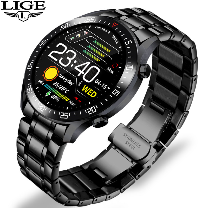 LIGE Smart Watch Men smartwatch LED Full Touch Screen For Android iOS Heart Rate Blood Pressure Monitor Waterproof Fitness Watch 1