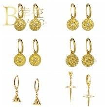 BOAKO rétro boucles d'oreilles rondes pour les femmes Piercing bijoux 925 boucles d'oreilles en argent Sterling balancent Pendientes diamant Kolczyki #4.7