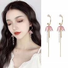 2019 Korean Elegant Earrings Pink  Rhinestone  Long Chain Tassel Pearl Drop Earrings for Women Jewelry Gifts rhinestone long chain earrings