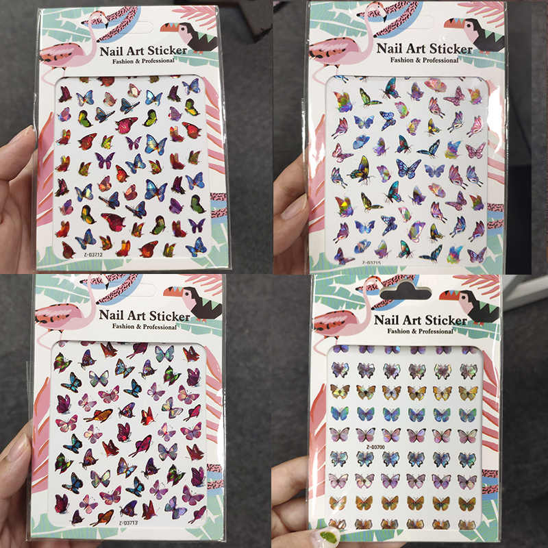 5/16pcs Holographic 3D Butterfly Nail Stickers Summer Nail Art Decoration Nail Accessories DIY Design