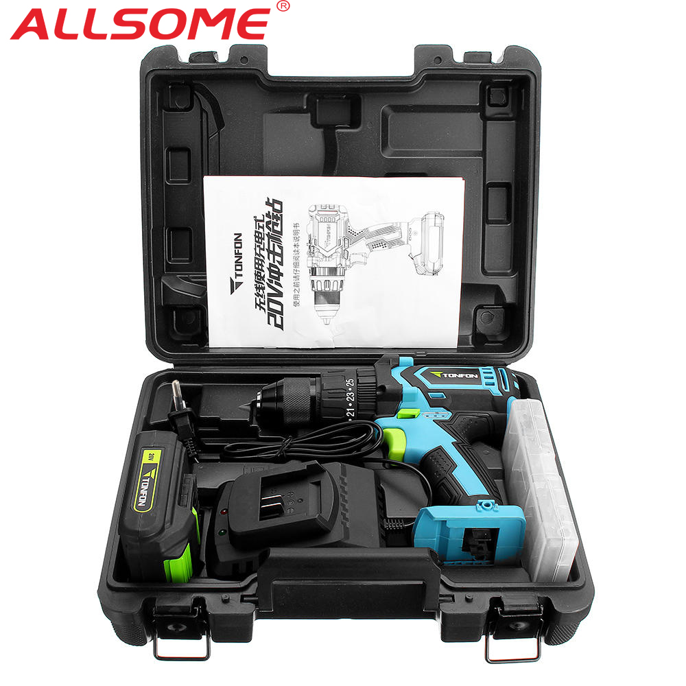 ALLSOME Tonfon 3 In 1 Electric Drill 20V Rechargable Impact Drill Cordless Electric Screwdriver Drill With Bits