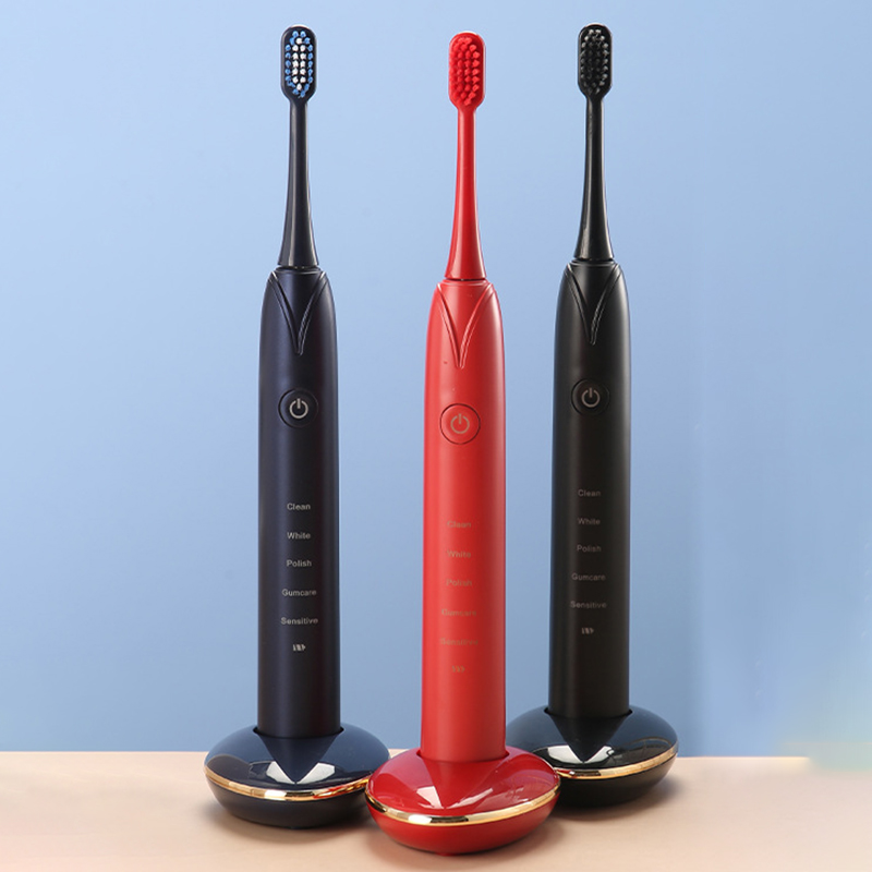 Electric Toothbrush 3 Replacement Brush Heads Battery Sonic Teeth Waterproof Deep Cleaning Included Soft-Bristle