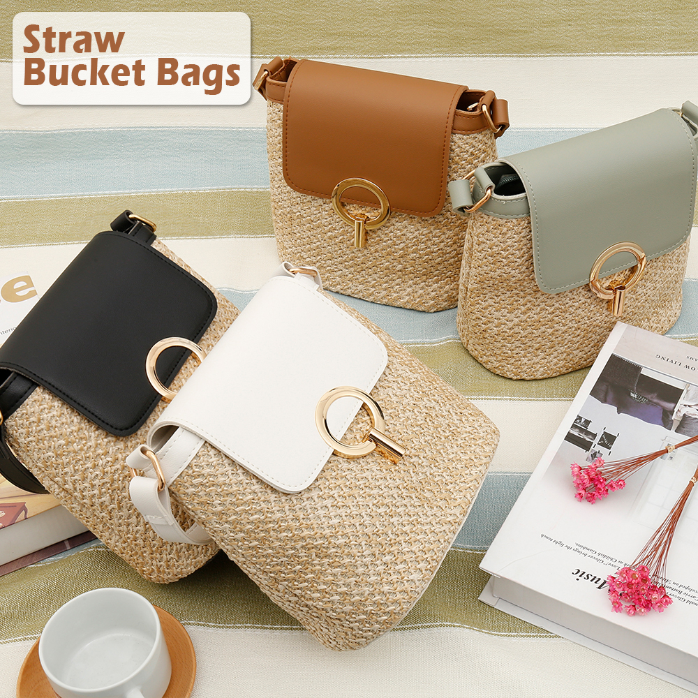 Straw Shoulder Bag Rattan Women Straw Bag Small Woven Beach Straw Clutch Bucket Bags Lady Travel Purses And Handbags Female