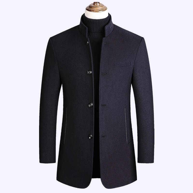 Riinr Marke Männer Wolle Blends Mantel Stehkragen Neue Einfarbig Hohe Qualität männer Wolle Mantel Luxuriöse Wolle Blends mantel Männlichen M-3XL